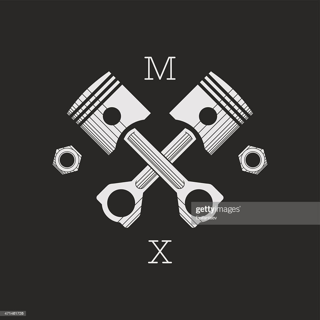 Сar or bike workshop logo template (concept). Vector illustration.