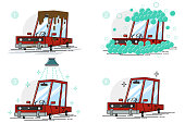 ar wash vector set of flat cartoon icons isolated on white background. Washing stages: dirty, in foam and bubbles, shower and clean vehicle.