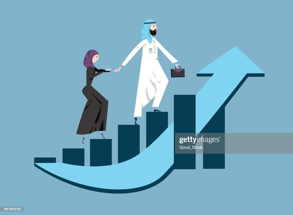 Arab business man and woman in arabian national dress walking up a rising graph of income growth. Vector illustration, isolated on blue.