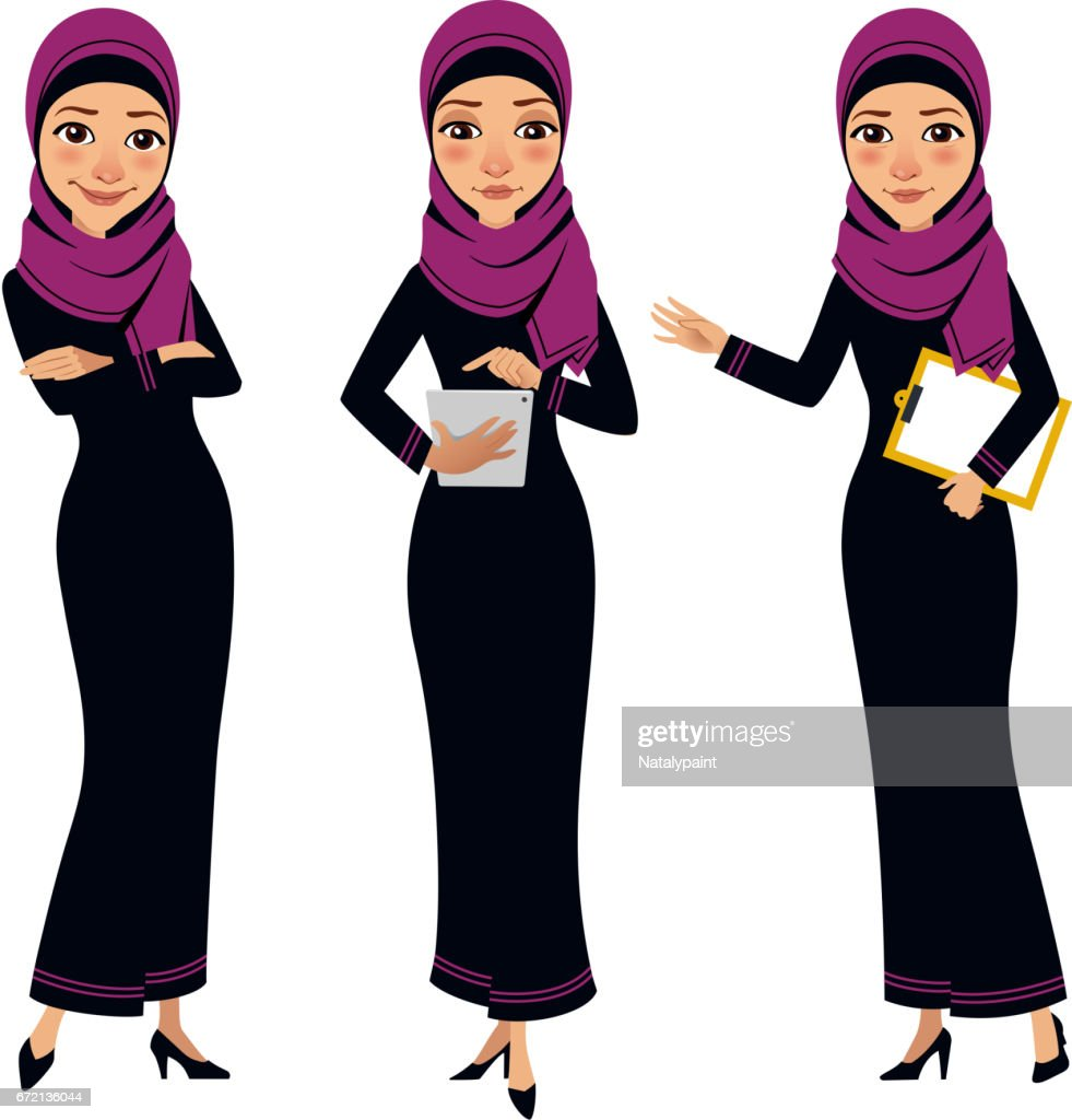 Arab business women characters. Four poses with tablet.
