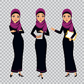 Arab business women characters in different poses on transparent background. Women with clipboard and tablet