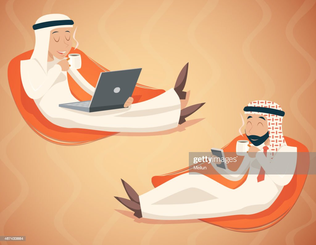 Arab Businessman Chat Laptop Mobile Phone Drink Coffee Tea Symbol