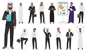 Arab Businessman man Character poses. Muslim male positions in suit and traditional clothes cartoon vector illustration.