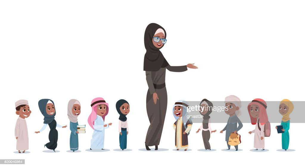 Arab Children Pupils With Female Teacher Muslim Schoolchildren Group