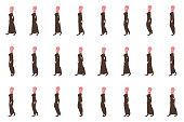 Arab Girl walk cycle animation sprites
