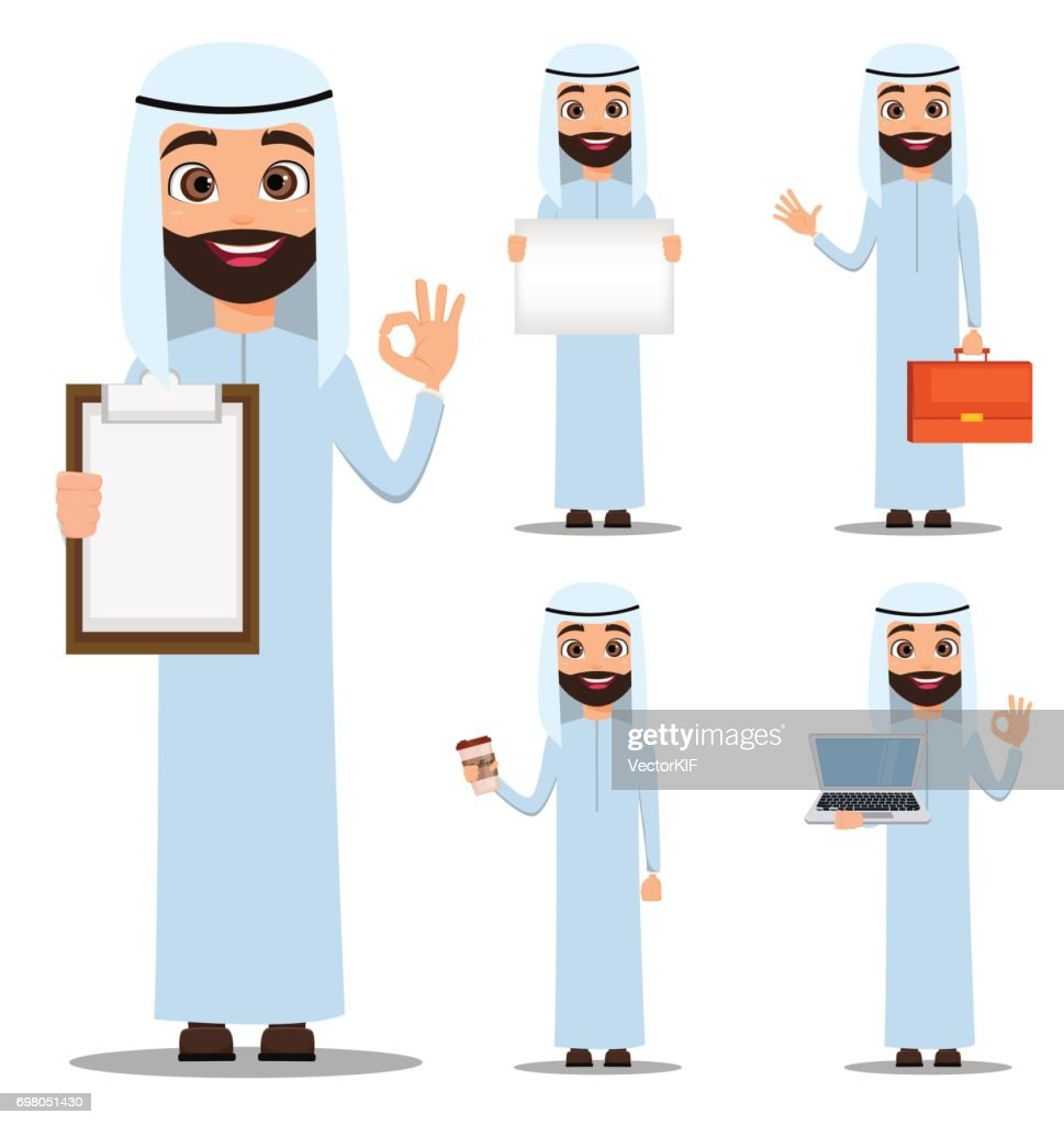 Arab man in white clothes. Cute cartoon character set. Vector illustration