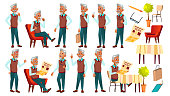 Arab, Muslim Old Man Poses Set Vector. Elderly People. Senior Person. Aged. Funny Pensioner. Leisure. Announcement, Cover Design. Isolated Cartoon Illustration
