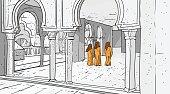 Arab People Coming To Mosque Building Muslim Religion Ramadan Kareem Holy Month