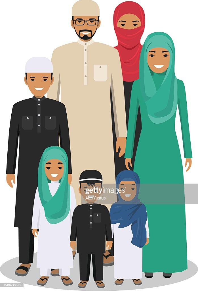 Arab people generations at different ages in traditional islamic clothes.