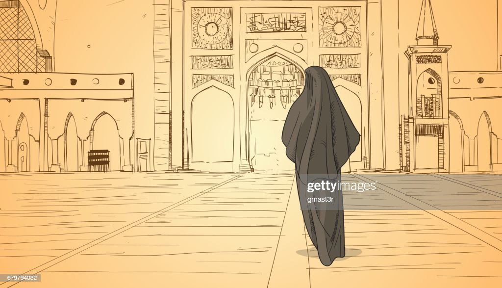 Arab Woman Coming To Mosque Building Muslim Religion Ramadan Kareem Holy Month