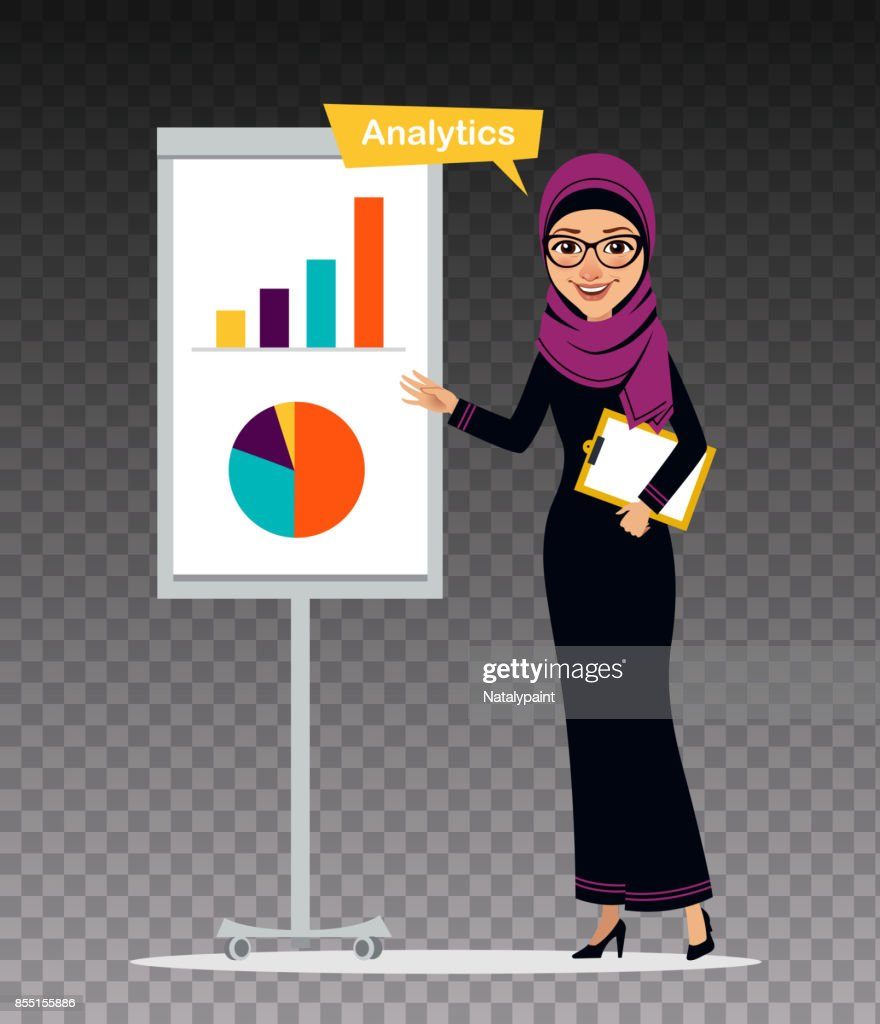Arab woman with clipboard stands nearly flipchart. Woman is engaged in analytics.Illustration on transparent background.