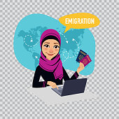 Arab woman woman prepares documents on emigration. Emigration concept. Illustration on transparent background.