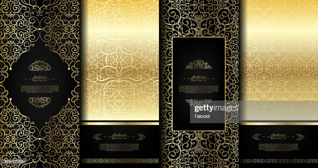 Arabesque abstract eastern element classy black and gold background card template vector set