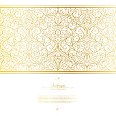 Arabesque eastern element white and gold background vector