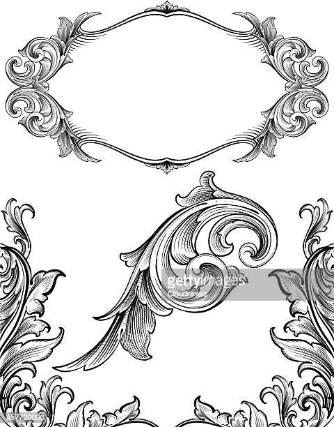 arabesque flourish set - art nouveau stock illustrations, clip art, cartoons, & icons