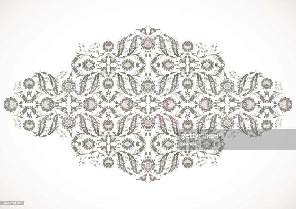 Arabesque vintage outline decor ornate pattern for design template vector. Eastern motif. Floral Border Frame. Lines flowers for save the date and greeting card, wedding invitation, banner, poster