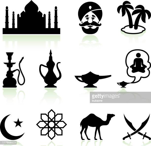 arabia black and white royalty free vector icon set - hookah stock illustrations, clip art, cartoons, & icons