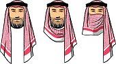 arabian men wearing red scarves