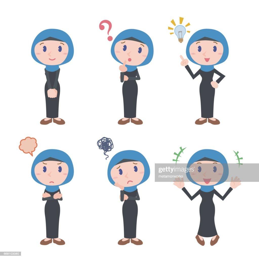arabian woman character various feeling clip art set, wearing hijab and abaya, vector illustration