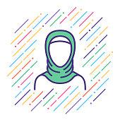 Arabian Woman Line Icon