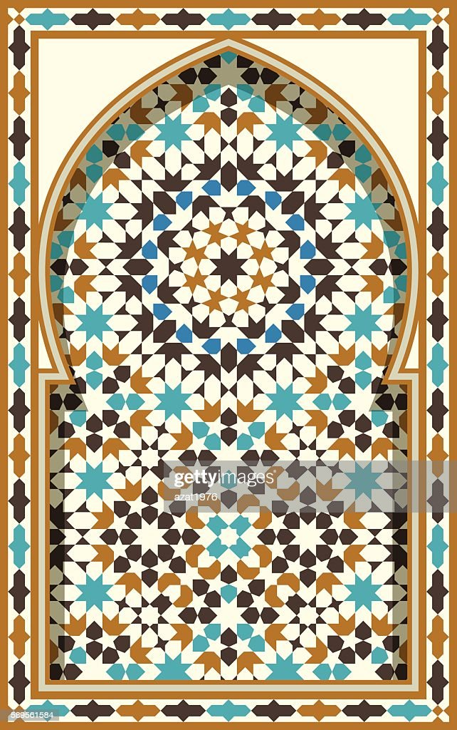 Arabic Arch. Traditional Islamic Background. Mosque decoration element.