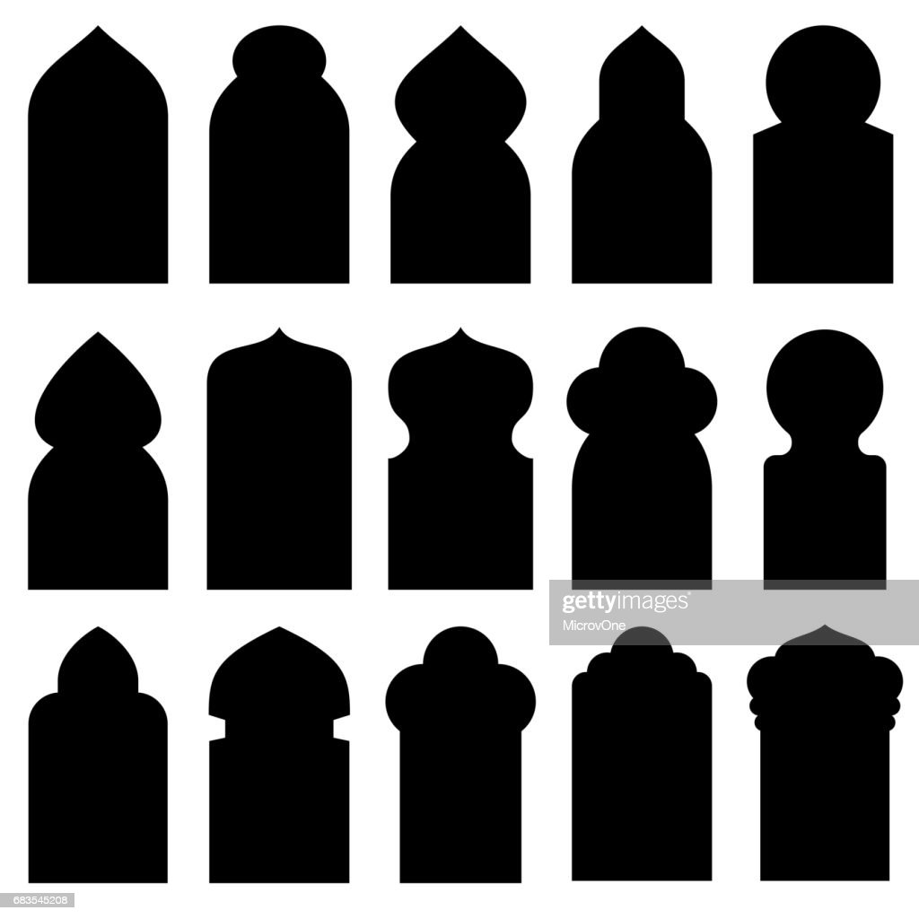 Arabic arch windows and doors in traditional islamic style vector silhouettes