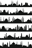 Arabic architecture silhouette of mosque roof. Vector city isolate on white background