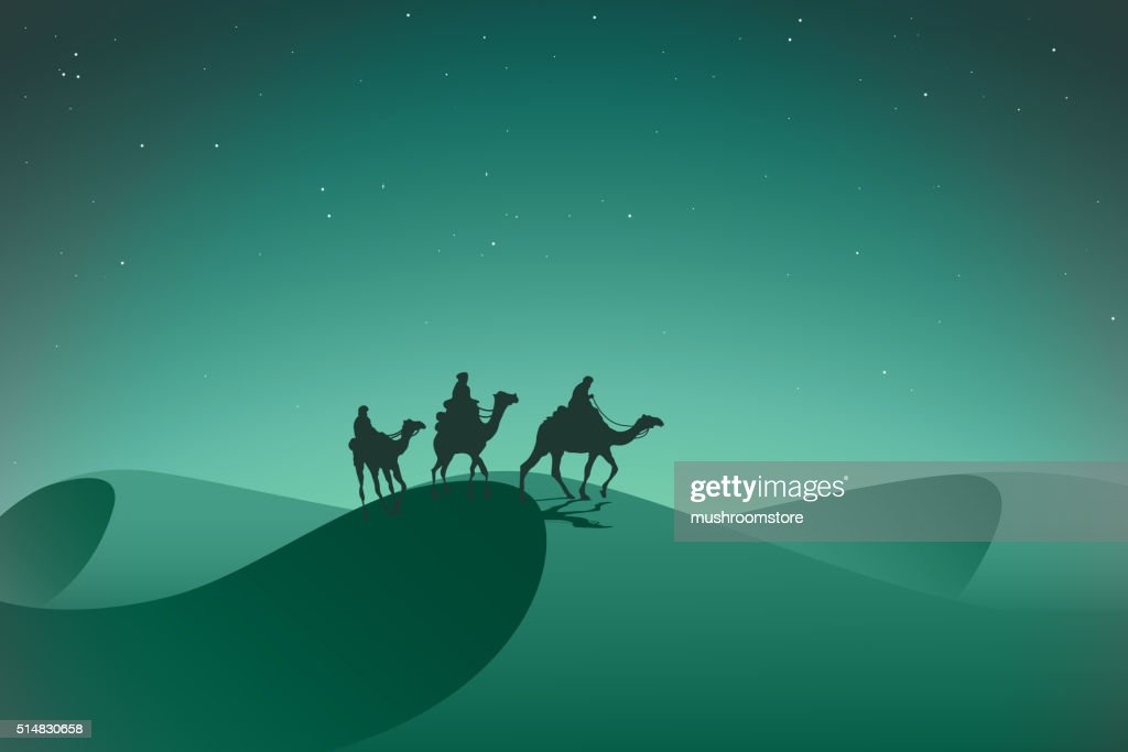 Arabic caravan in night desert.