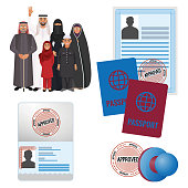 Arabic emigrats with approved by stamp documents and passports