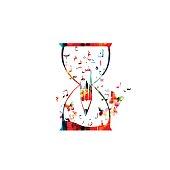 Arabic Islamic calligraphy symbols inside hourglass isolated