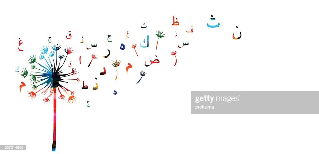 Arabic Islamic calligraphy symbols with dandelion vector illustration