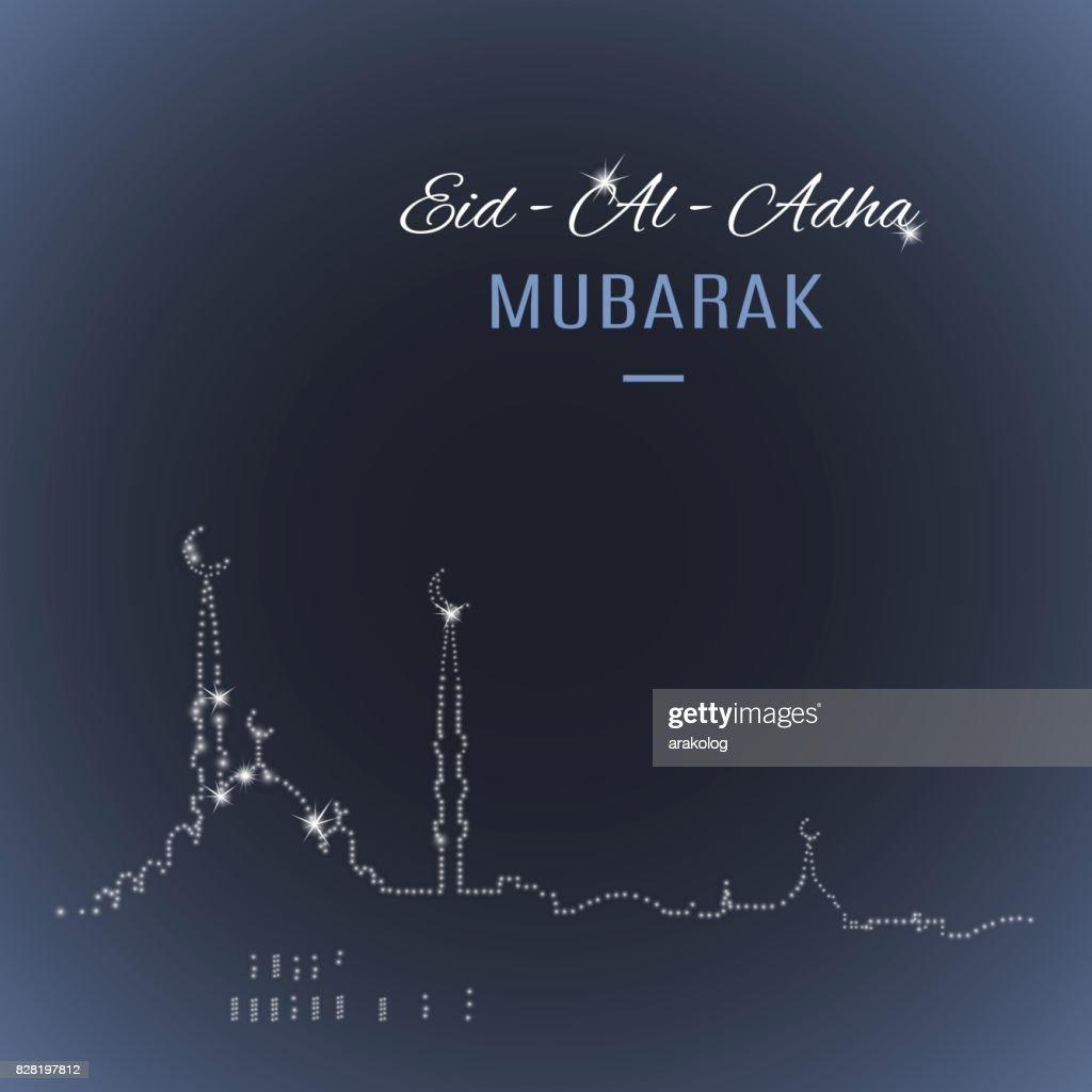 Arabic islamic holiday Eid-Al-Adha Mubarak greeting card