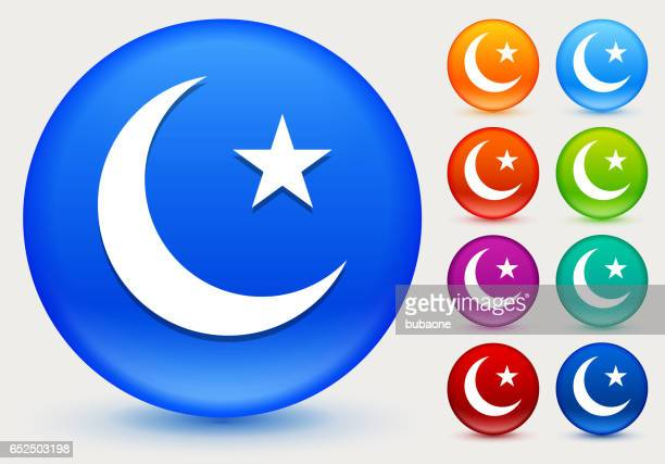 arabic moon and star icon on shiny color circle buttons - {{relatedsearchurl('racing')}} stock illustrations, clip art, cartoons, & icons