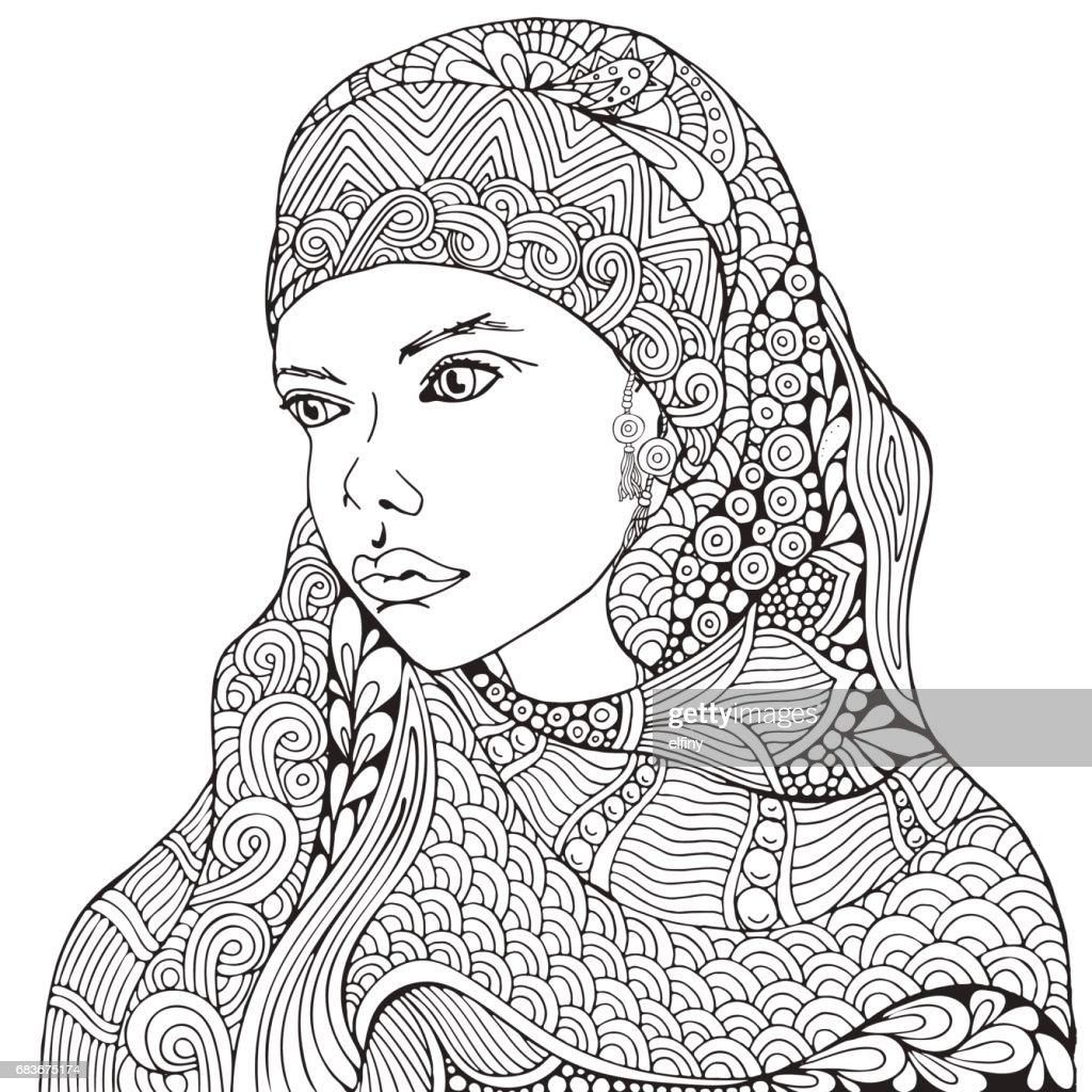 Arabische Muslimische Frau Hijab Malvorlagen Buch Für Erwachsene ...