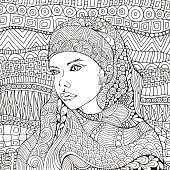 Arabic muslim woman. Hijab. Coloring book page for adult. Black and white. Doodle style.