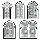 Arabic or Islamic windows set. Vector illustration.