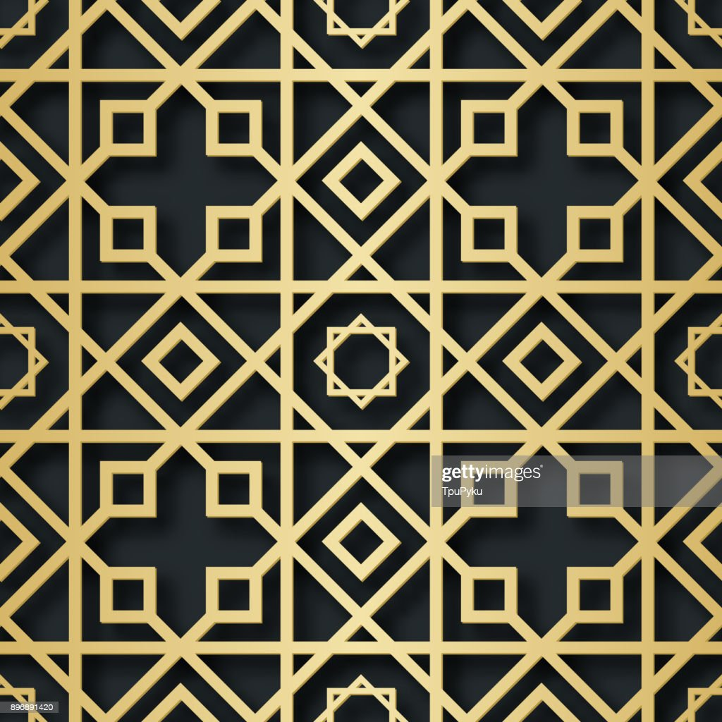 Arabic seamless pattern with 3D effect for the festive design of the brochure, website, print. Vector illustration