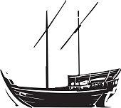Arabic Ship Dhow at sea