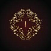 Arabic Symbol Letter A. Calligraphic Monogram vintage frame. Luxury vector