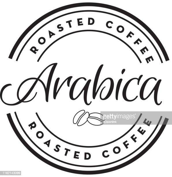 Arabica Coffee round labels on coffee bean textured background