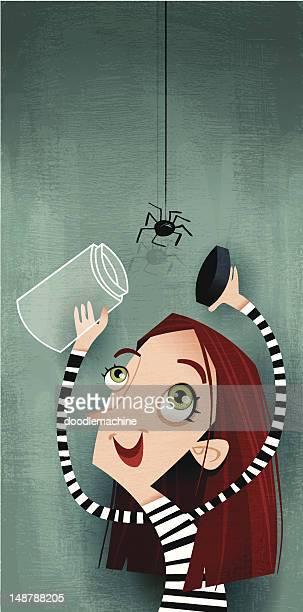 arachnophilia - phobia stock illustrations, clip art, cartoons, & icons