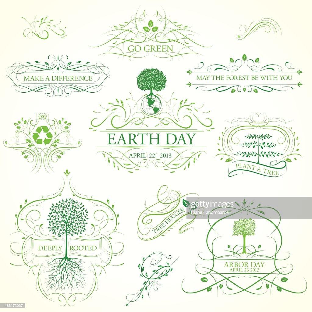 Arbor Day Kalligrafische Bilder und Ornamente : Stock-Illustration