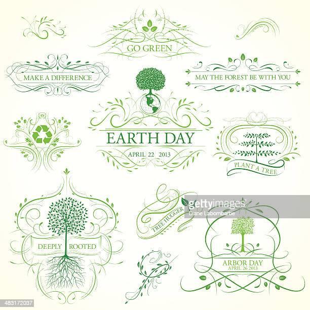 Arbor Day Kalligrafische Bilder und Ornamente