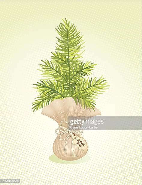 アナーバーの日アイコンツリー包まれた芽が表す希望 - 荒い麻布点のイラスト素材/クリップアート素材/マンガ素材/アイコン素材