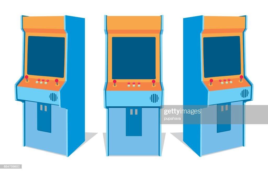 Arcade game machine on white background