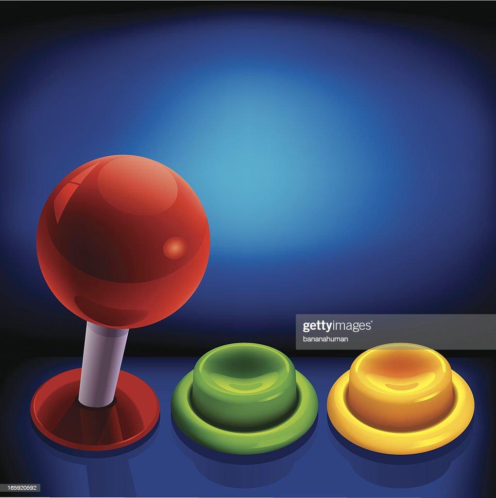 Arcade Joystick and Push Button : stock illustration