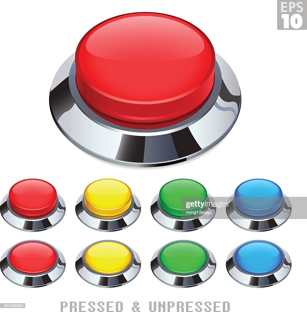 Arcade Push Buttons With Chrome Bezel Pressed Unpressed Various Colors