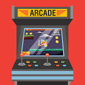 arcade video game machine with level knight medieval on screen