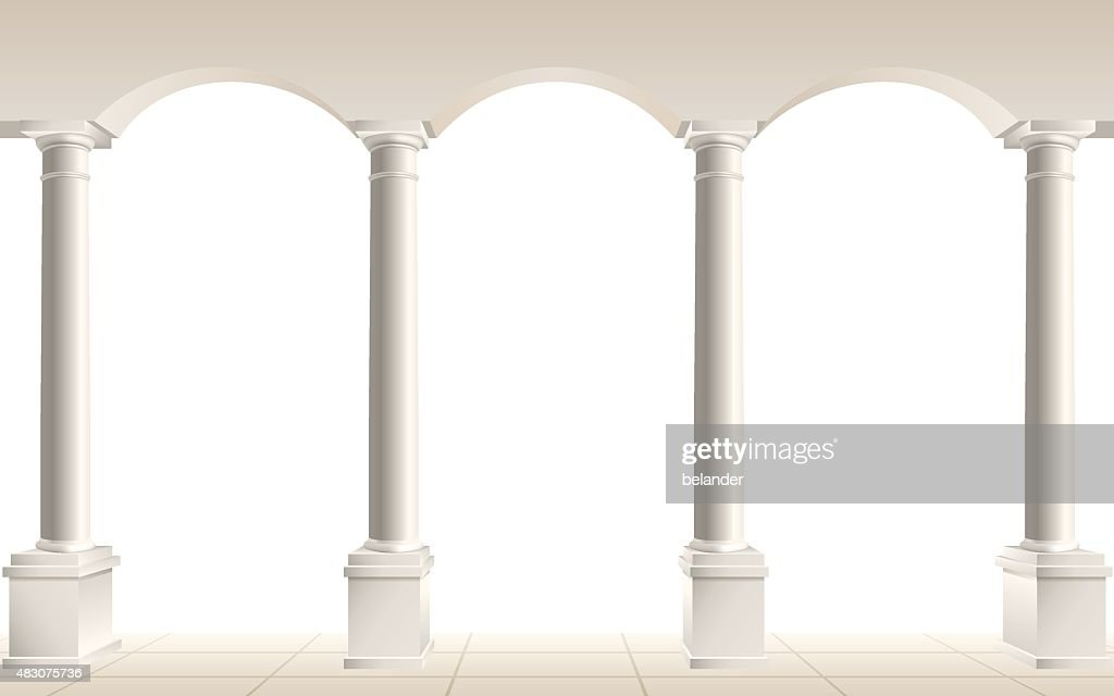 arch and columns on white