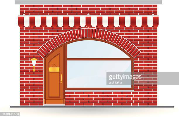 arch brick store icon - awning stock illustrations, clip art, cartoons, & icons